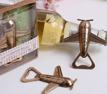 2015 new arrival zinc alloy antique -copper aircraft beer bottle opener for promotional gift
