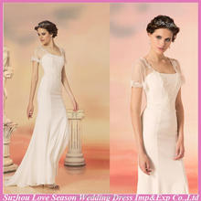 WD5515 wholesale price made in china short sleeve lace appliqued top mermaid chiffon stunning mermaid women wedding dress