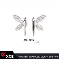 dragonfly silver stud earrings made in Xin Chuang Yi