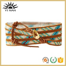 New product 925 Sterling Silver Clasp Turquoise Mix/Henna Seed Bead Wrap Bracelet