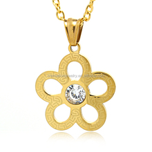 Stainless Steel Gold Tone 316L Fashion Pendant Hollow Out Flower Mini Pendant with white CZ Stone Beautiful Women's Jewelry