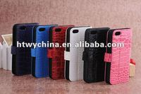 For new iphone5 Deluxe Alligator Crocodile Leather Case with Stand Function and Credit Card Slot