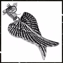Men's Two Tone Stainless Steel Guardian Angel Crossed Wing Pendant