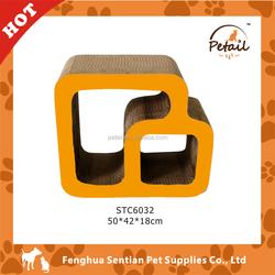 Double square shaped corrugated cardboard cat scratcher