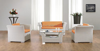 living room furniture white plastic rattan sofa oval sofa with cafe table