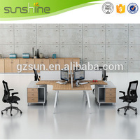 Wooden Office Furniture Aluminium Partition Office Cubicle Workstation L Shaped Divider Partition