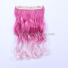 24inch 5 Clip in On Curly Hair Extensions Synthetic false Hairpiece pink hair pad pieces