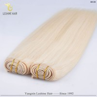 China Supplier Wholesale Top Quality No Chemical Long Lasting sew in human hair extensions blonde