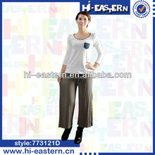 Custom solid color wide leg loose pants , ladies gaucho pants , women palazzo pants with self draw cord