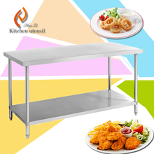 Portable 2 ties commercial industrial handmade stainless steel kitchen work table workbench separated assembled