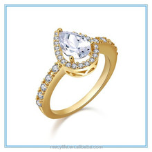 MECY LIFE factory wholesale woman wedding jewelry plated silver and gold personality inlay diamond hot saleswater Drop ring