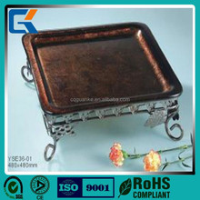 Glass square show glass fruit Plate for hotel dinnerware