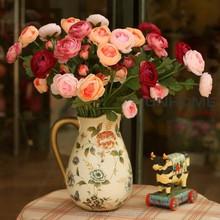 European top-grade simulation wholesale taobao open lotus flowerThree head camellia spring scenery