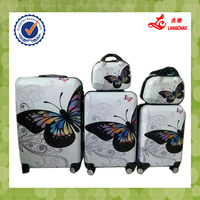 "White Color Butterfly Hard Shell 20/24/28+12""+14"" 5 Pcs In Set High Quality Handles 360 Wheels ABS+ PC Trolley Luggage Bag"
