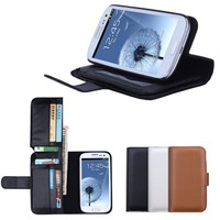 BRG Luxury Flip Hybrid Wallet Magnetic Synthetic Leather Pouch Stand Cover Case with Card Slots Pocket for Samsung S3