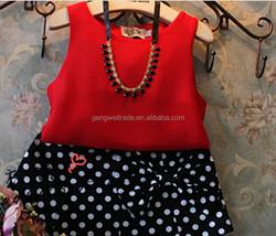 Elegant children girl's clothing sets,dots designs,2014 Summer