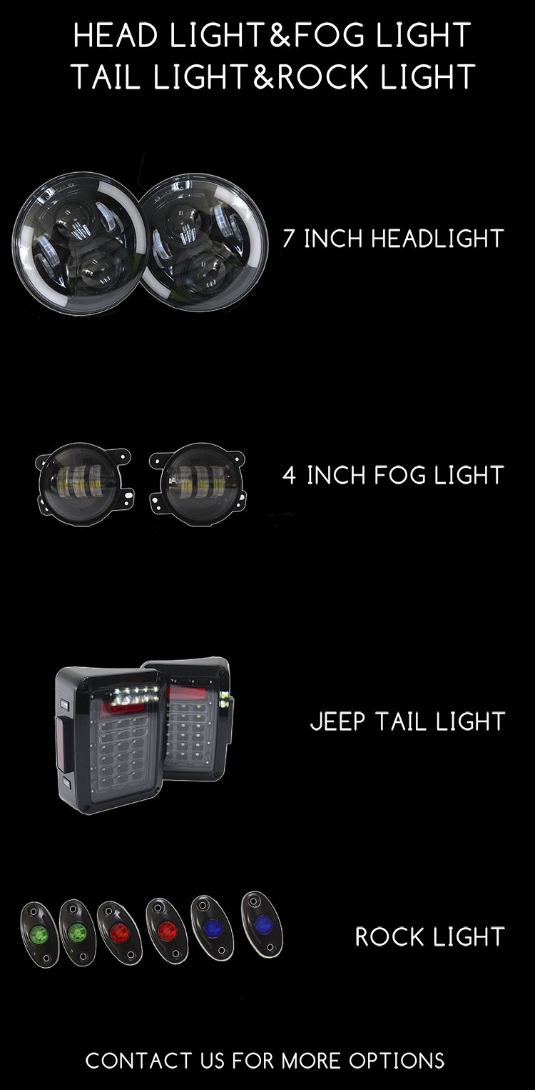 Jeep Wrangler Accessories Dc9 32v Ip68 Off Road Led Rock Lights Oem Fog 50inch Light Bar Front
