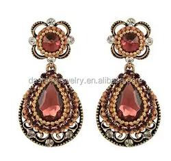 Fashion crystal Vintage Inspired Floral Teardrop Fringed Pierced earrings woman dangler