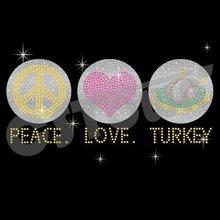 Peace Love Turkey Iron On Glitter Thanksgiving Transfer