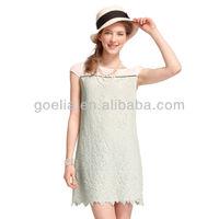 GOELIA summer short sleeve straight cut lace dress 36E4B160