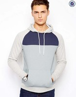 Fashion men's pullover cut and sew hoodie
