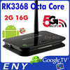 Factory Supply Octa Core Android5.1 Mini TV Box Bluetooth4.0 Dual 2.4G/5G Wifi 2GB 16GB IR Remote Kodi Android TV Box RK3368