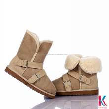 Customized cheap beige buckle sheepskin lining ankle cowboy boots