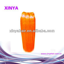 100% human Remy Virgin Pure Indian color orange hair weave/extension