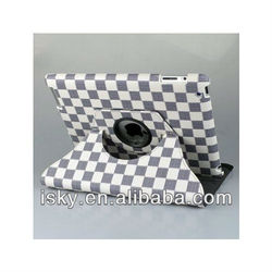 360 Degrees Rotating Stand Stylish Grid (white/Gray) PU Leather Case for Apple iPad 2 & iPad 3