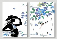 Fashion art home wall decor 2 pieces girl room clock