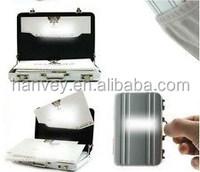 Silver Aluminium Mini Briefcase Credit Card Holder Business Card Case Coin Case