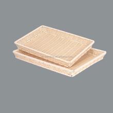 Wholesale Rectangular Supermarket Display Rattan Bread Basket Plastic Trays for Food Storage