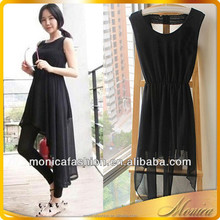 Short Front Long Back Dresses 2014 Women Summer Casual Sleeveless Chiffon Cocktail Latest Dress Designs For Ladies