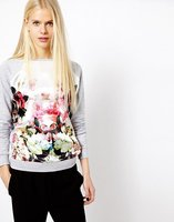 women sweater 8178 # 2015 new European and American long-sleeved sweater printing stitching flowers Ms. knit sweater