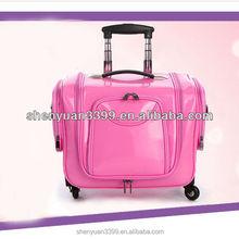 Pink professional Large multi-layer cosmetics trolley luggage female universal wheels travel bag car storage box