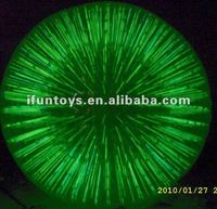 Green glowing human zorb ball