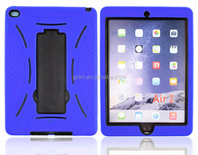 High quality defender rugged silicone rubber back case for iPad Air 2/ iPad 6 case with kickstand