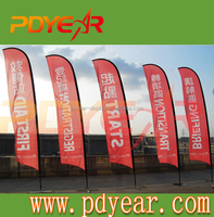 Customized flying promotional banner teardrop feather beach flag