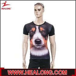 wholesale black color 3d printing animal dog custom t shirt
