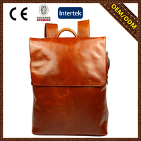 Unisex fashion Italy genuine leather business backpack casual Korea style high school backpack