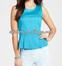 2013 blusas de verão de azul brilhante de cetim