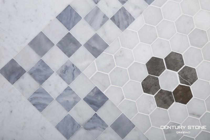 밀라노 회색 및 흰색 카라라 대리석 바닥 타일 광택 욕실-대리석 ...