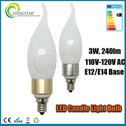 Golden and silver cover e12 c37 candle led bulb light 3w,4w,5w 110v ce rohs ,e12 c37 led light bulb