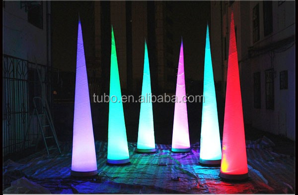 Free-shipment-3m-height-color-changing-LED-inflatable-pillar-horn-cone-ball