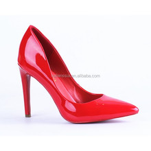 2015 pointed toe elegant European style red color patent leather high heel shoes and fashion lady womens dress shoe