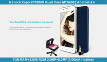 2015 Newest 5.0inch IPS ZOPO ZP1000S 1GB RAM 32GB ROM Quad Core MTK6582M Android 3G WCDMA Mobile phone Made in China