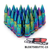 AUTOFAB - 20PC Blox 50MM M12x1.5 Neochrome Aluminum Extended Tuner Wheels Rims Lug Nuts With Spike BLOX750DJT7C-15