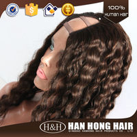Top quality #2 color straight Brazilian virgin human hair U part wig