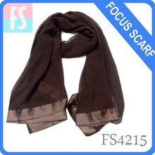 stain trimmed polyester chiffon lady scarf