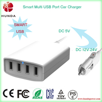DC 12V 24V 8a 40w multi port 4 usb car charger station, electric 4 smartphone charging car charger